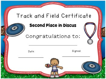 Track and Field Award Certificates