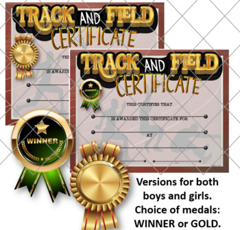 Track and Field Awards Certificates -{Fillable}
