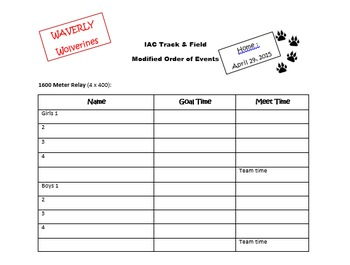 Track and Field - Order of Events