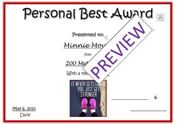 Track and Field - Presonal Best Award