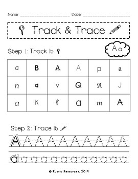 Track and Trace Literacy Center Activity