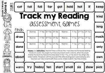 Track my Reading Fluency Assessment Games GRADE THREE Words