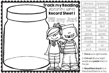 Track my Reading Fluency Assessment Games GRADE TWO Words