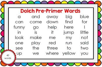 Track my Reading Fluency Assessment Games PRE-PRIMER Words