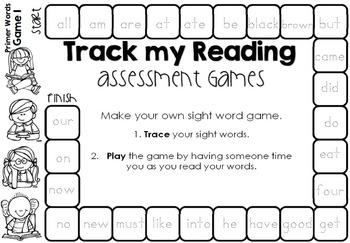 Track my Reading Fluency Assessment Games PRIMER Words