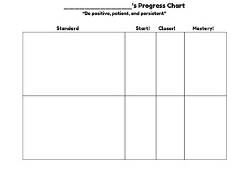 Track the Standards Student Progress Sheet