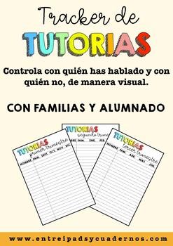 Tracker de tutorías con familias y alumnado. Inserto para la agenda/cuaderno.