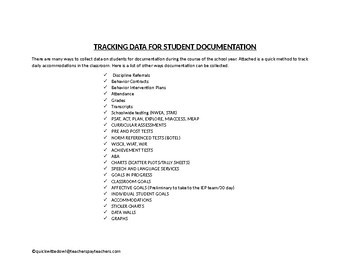 Tracking Data For Student Documentation