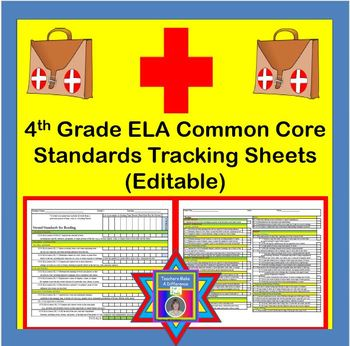 Tracking Sheets (EDITABLE) Common Core 4th Grade ELA by Domain/Cluster/Standard