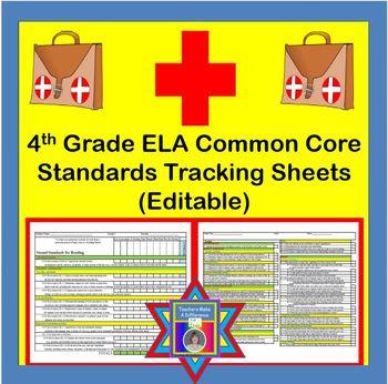 Tracking Sheets (EDITABLE) Common Core 4th Grade ELA by Do
