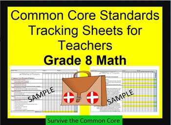 Tracking Sheets (EDITABLE) Common Core 8th Grade Math by Domain/Cluster/Standard