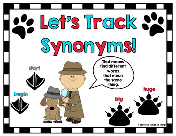 Tracking Synonyms: Concentration Game, Poster, & Activities