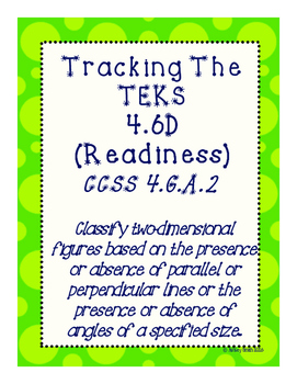 Tracking The TEKS  4.6D (Readiness)