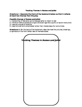 Tracking Themes in Romeo and Juliet - bookmark