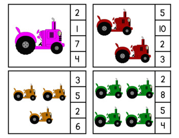 Tractor Count & Clip Cards (Farm Theme)
