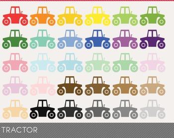 Tractor Digital Clipart, Tractor Graphics, Tractor PNG, Rainbow Tractor Digital