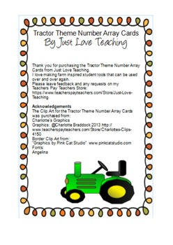 Tractor Theme Counting Cards