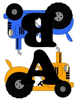 Tractor Word Wall Letters