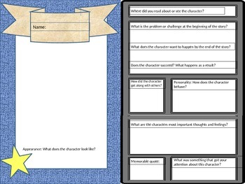 trading card template fictional character by literacy chick tpt