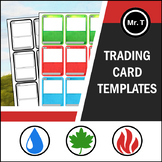Trading Card Templates - Fire, Water, Grass Theme