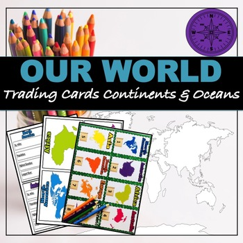 """Continents and Oceans """"Trading Cards"""""""