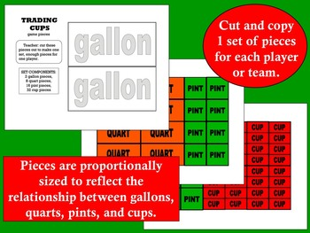 Trading Cups - liquid capacity conversion math game