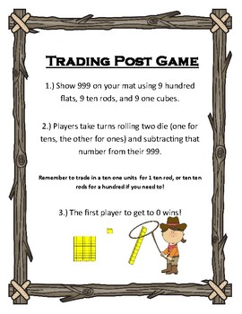Trading Post Subtraction Place Value Game