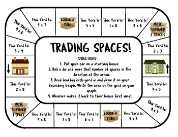 Trading Spaces Area and Perimeter Board Game
