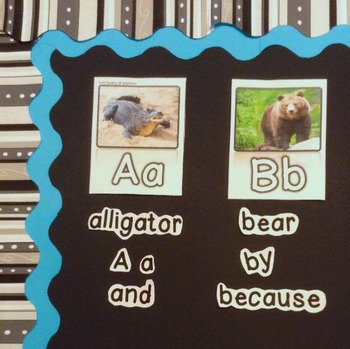 Traditional Alphabet Poster SMALL 3x5 WORD WALL zoo phonics aligned