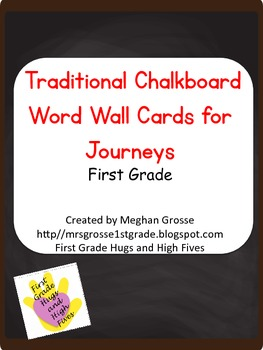 Traditional Chalkboard Word Wall Cards- HMH Journeys 1st
