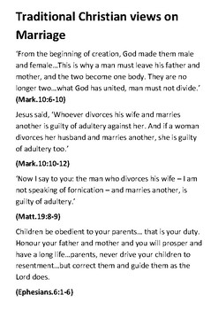 Traditional Christian Views on Marriage Quotes Handout