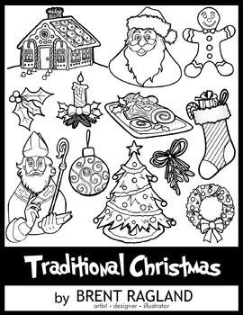 Traditional Christmas Clip Art (Black & White) by Brent Ragland