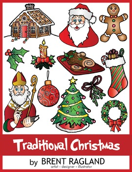 Traditional Christmas Clip Art by Brent Ragland