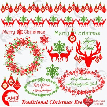 Traditional Christmas Clipart, Reindeer, Old Fashioned Ornaments AMB-1125