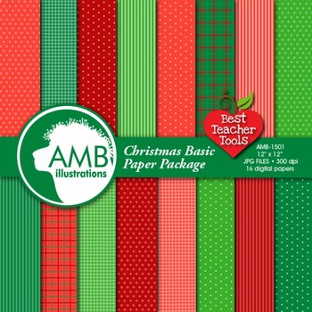 Traditional Christmas Digital Paper, Holiday Backgrounds, AMB-1501