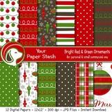 Traditional Christmas Digital Scrapbook Paper & Background