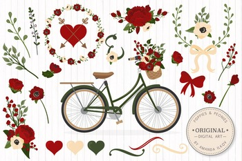 Traditional Christmas Floral Bicycle Vectors - Flower Clipart, Peonies Clip Art