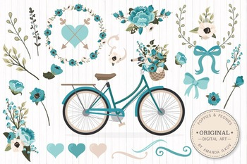 Vintage Blue Floral Bicycle Vectors - Flower Clipart, Peonies Clip Art, Poppies