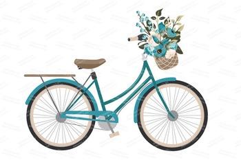 Vintage Blue Floral Bicycle Vectors - Flower Clipart, Peonies Clip Art, Poppies