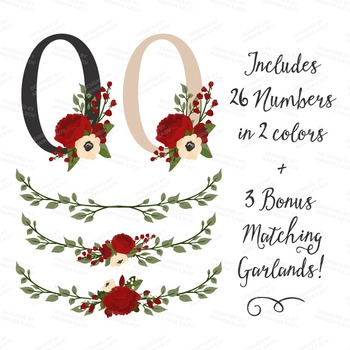 Traditional Christmas Floral Number Vectors - Flower Clip Art, Peonies Clipart
