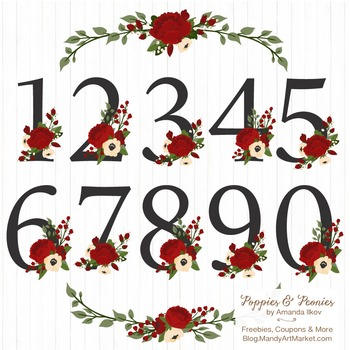 Traditional Christmas Floral Number Vectors - Flower Clip