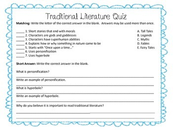 Traditional Literature Quiz by Allison Bedwell Nicholson | TpT