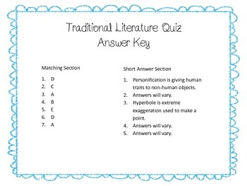 Traditional Literature Quiz