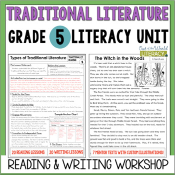Traditional Literature Reading & Writing Unit Grade 5: 40 Lessons with CCSS