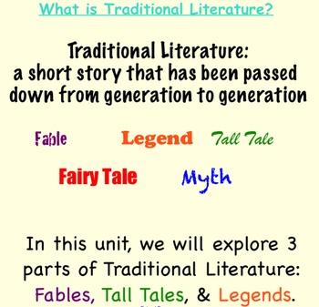 Traditional Literature Unit - Common Core Aligned!