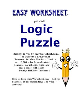 Traditional Logic Puzzle--Improve critical thinking and logic skills!