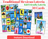 Traditional Mexican Loteria Kid Friendly 50 Cards