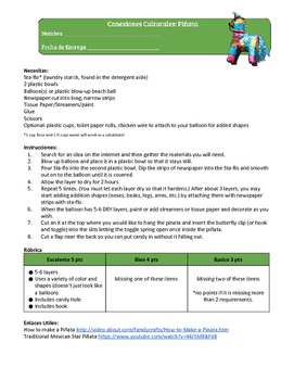 Traditional Mexican Piñata Instructions and Rubric