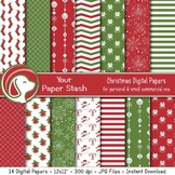 Traditional Red & Green Christmas Digital Papers With Ornaments & Snowflakes