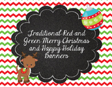 Traditional Red and Green Printable Christmas and Happy Holidays Banner